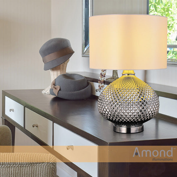 Zula Chrome Hatch Impression Table Lamp by Amond