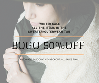 BOGO 50% off winter women's boutique clothing, winter sale items, winter clearance.