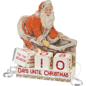 Retro Santa and present sack block countdown Christmas advent calendar with Day Tills Christmas message on front.