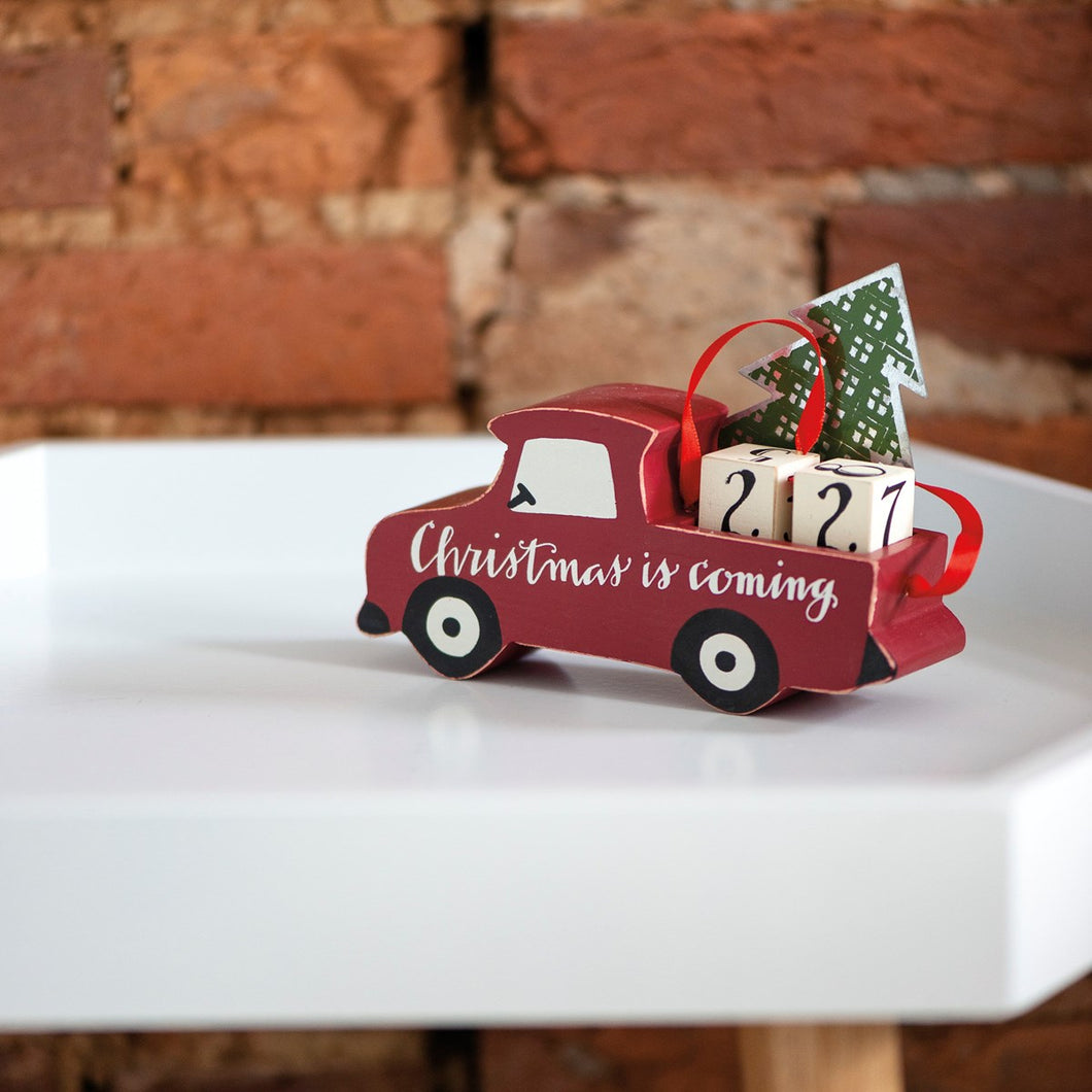 Wooden Truck with Christmas Tree Advent Countdown Blocks