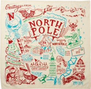 Retro North Pole Map Dish Towel