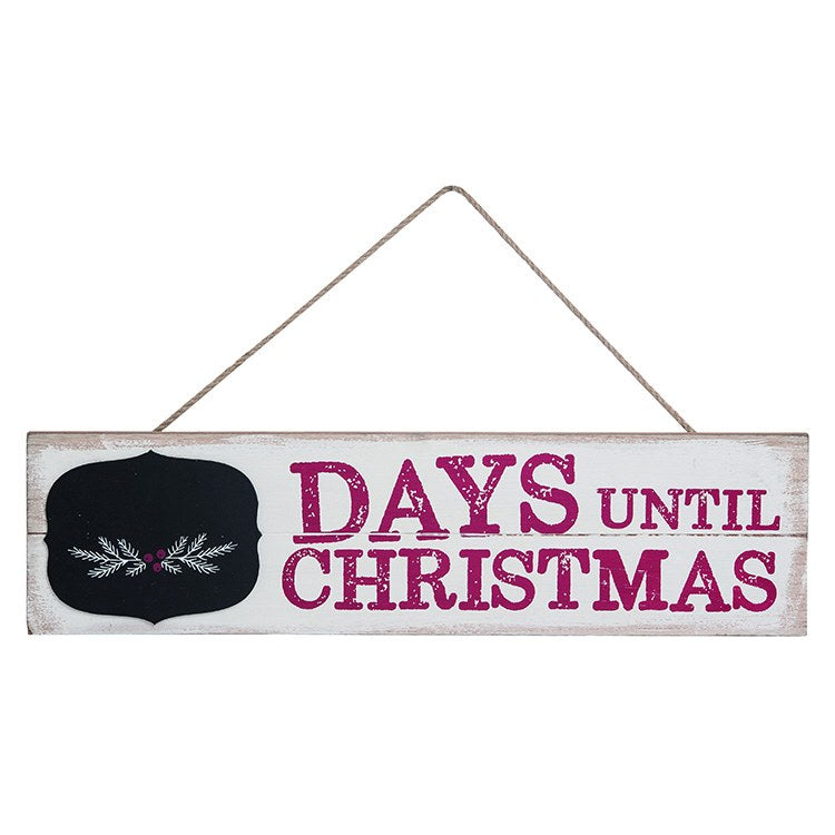 Christmas white wood chalkboard calendar hanging sign with Days Till Christmas in red lettering front.