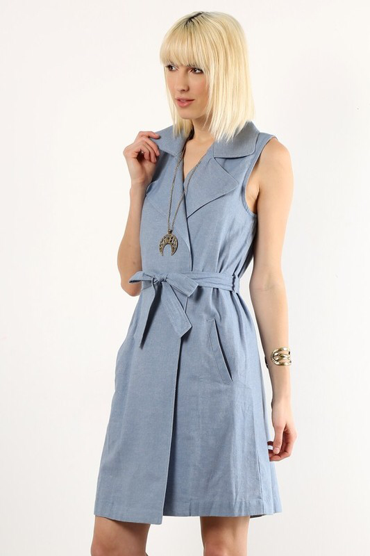 Blue denim style dress vest with collar detail and matching belt.