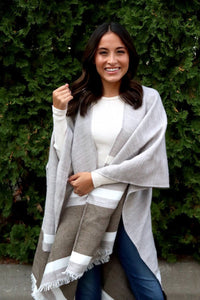Neutral Color Block Shawl