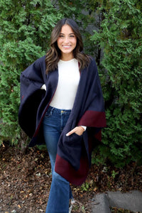Navy/Burgundy Reversible Shawl