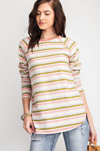 Woman in long sleeve striped tee shirt