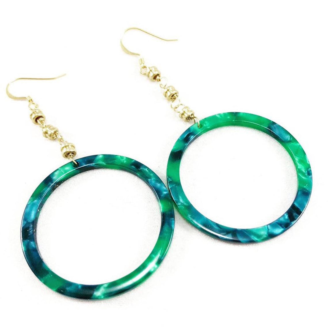 Restrung Jewelry emerald green tortoise shell and gold drop earrings.