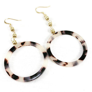Restrung Jewelry earth tone tortoise shell and gold drop earrings.