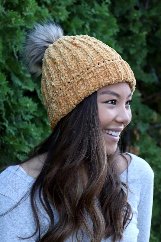Panache Fleece Lined Knit Beanie Yellow