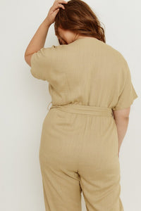 Plus Tan Jumpsuit Elastic Waist