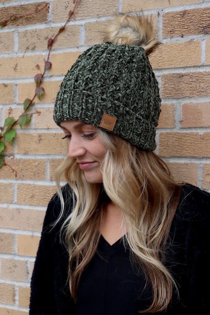 Panache Fleece Lined Knit Beanie Forest Green