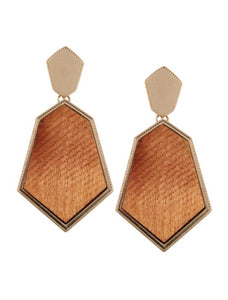 Boho wood and gold drop earrings for pierce ears.