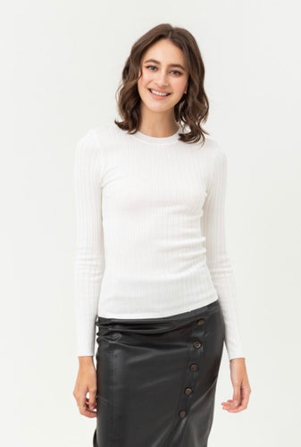 White Ribbed Sweater Shirt