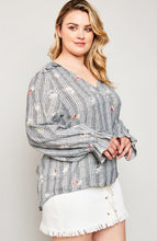 Modest plus women's wrap top flower print shirt with long sleeves and ruffle details side.