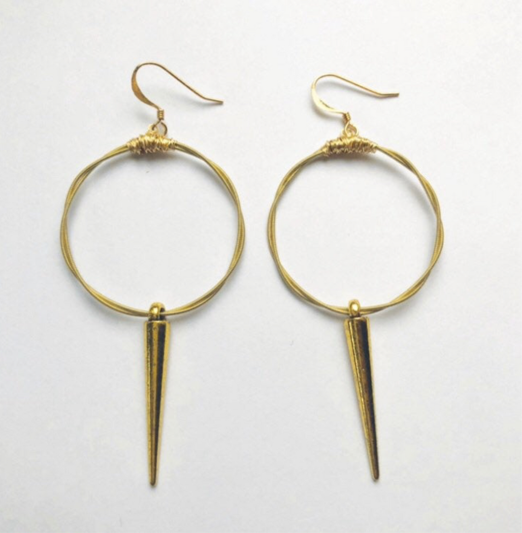 Hoop and Dagger Recycle Guitar String Earrings