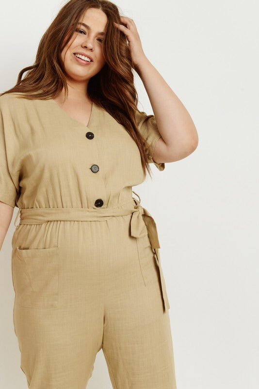 Tan Plus Fashionable Jumpsuit
