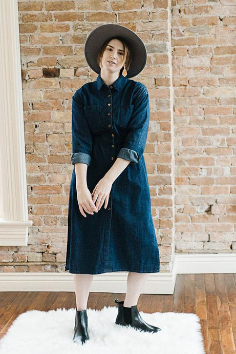 Dark Denim Long Sleeve Button Front Shirt Dress