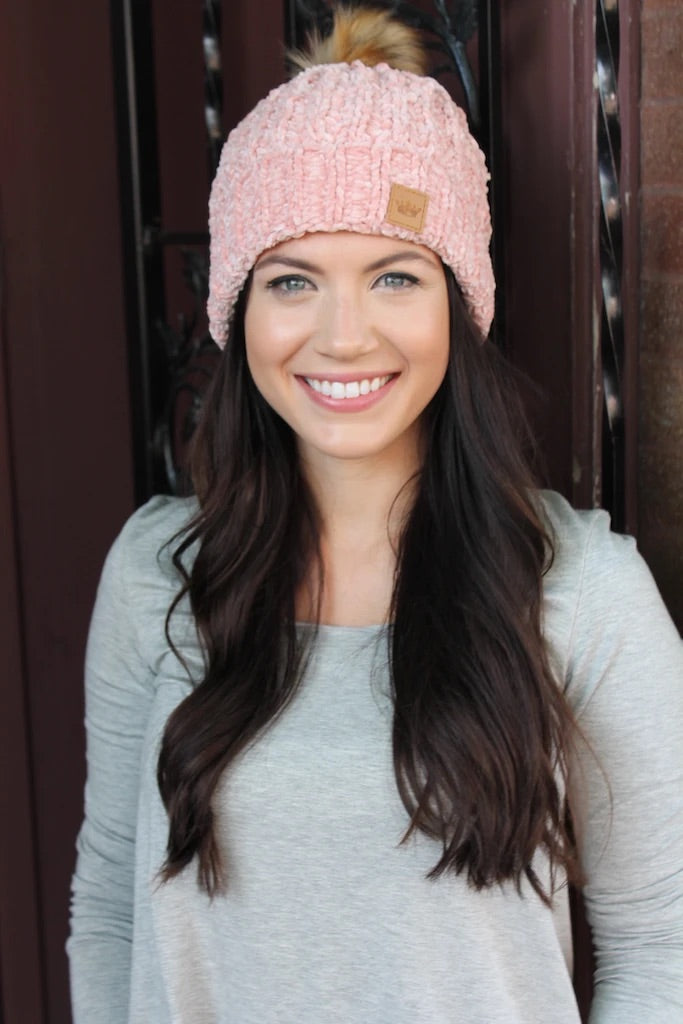 Panache Fleece Lined Knit Beanie Pink