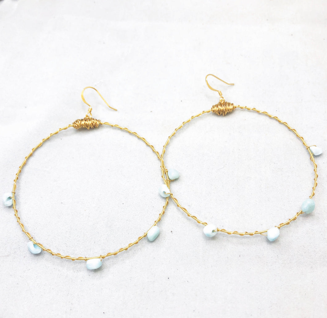 Gemstone Bangle Hoop Earrings Multiple Color Options