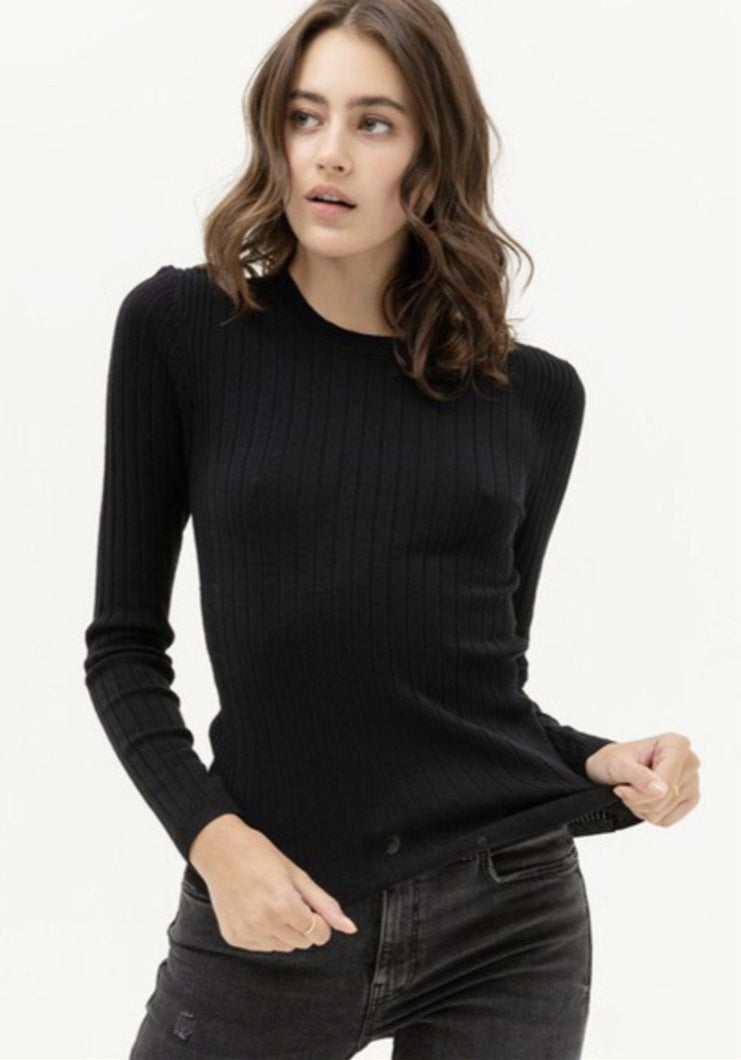 Black Ribbed Sweater Shirt