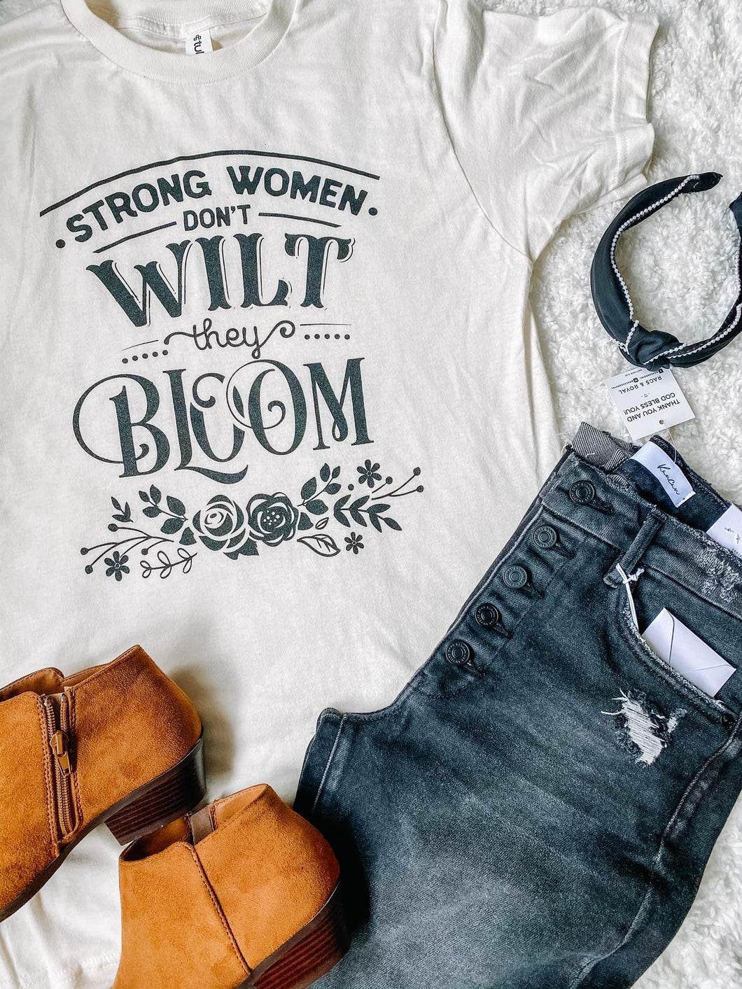 Strong Women Don't Wilt They Bloom Cream Tee