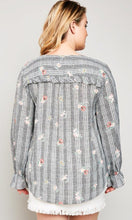 Modest plus women's wrap top flower print shirt with long sleeves and ruffle details back.