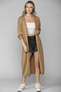 Camel color maxi length soft knitted women's cardigan with two front pockets duster style front.