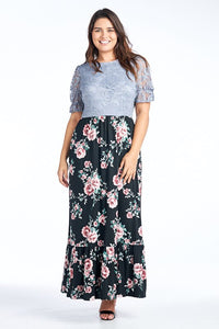 Plus size modest style maxi dress with lace bodice and floral pattern skirt with ruffled hem.