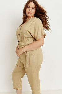 Front Button Closure Tan Jumpsuit