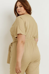Taupe Plus Jumpsuit Front Pockets