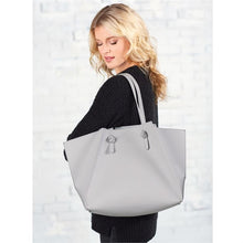 Grey oversize faux leather tote bag from Mud Pie brand.