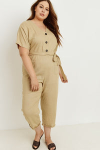 Plus Womens Taupe Jumpsuit