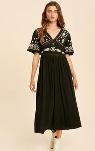 The Lucy Embroidery Midi Dress Black