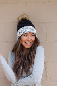 Panache Black and Navy Fleece Lined Knit Hat with Pom Accent