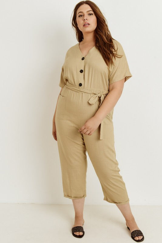 Plus Tan Jumpsuit Crop Length