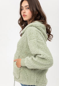Kicken It Mint Green Sherpa Hoodie