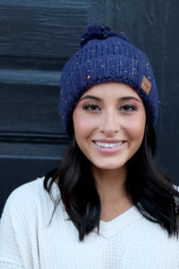 Panache Fleece Lined Knit Blue Speckle Beanie with Pom