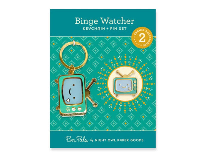 Binge Watcher Keychain and Pin Set