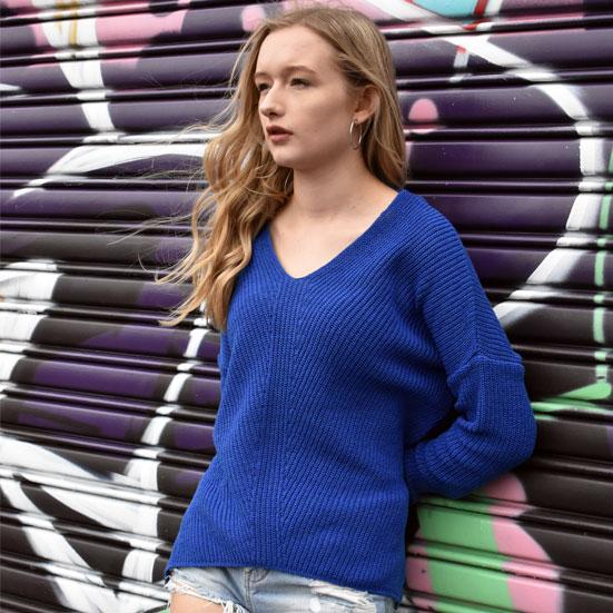 The Sasha V Neck Jumper - Knitted Jumper - Route13