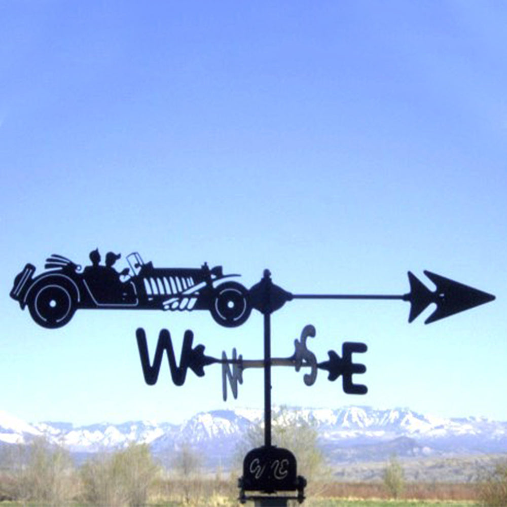 Antique Car Silhouette Steel Weathervane