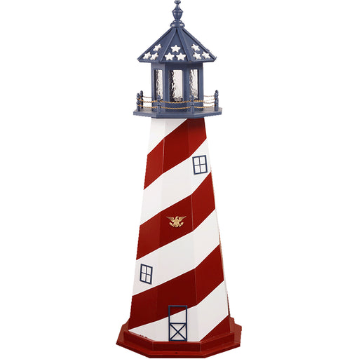 USA Stars & Spiral Patriotic Wooden Lighthouse