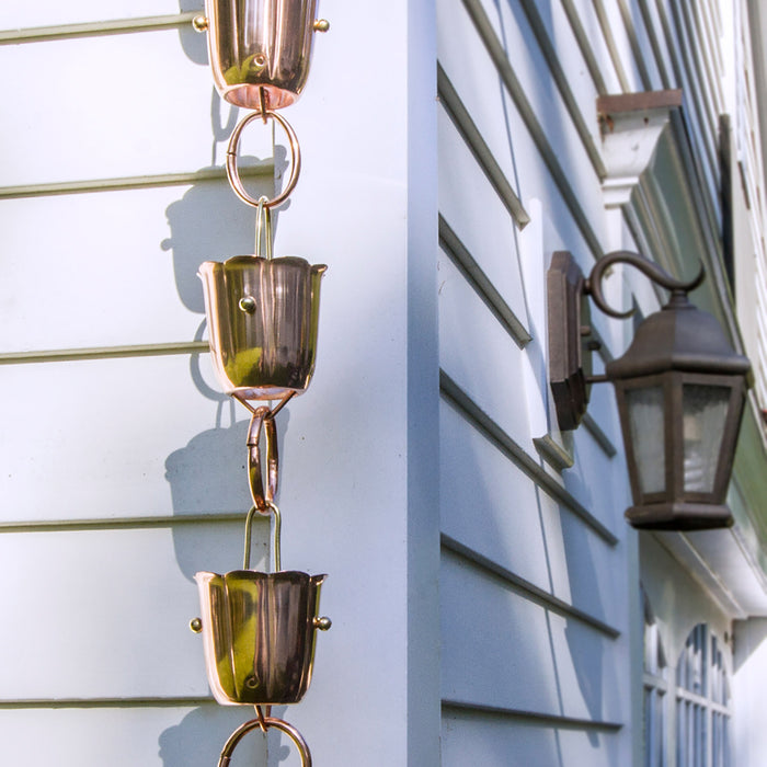 14 Cup Bluebell Pure Copper 8.5 Foot Rain Chain