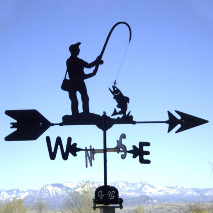 Fisherman Silhouette Steel Weathervane