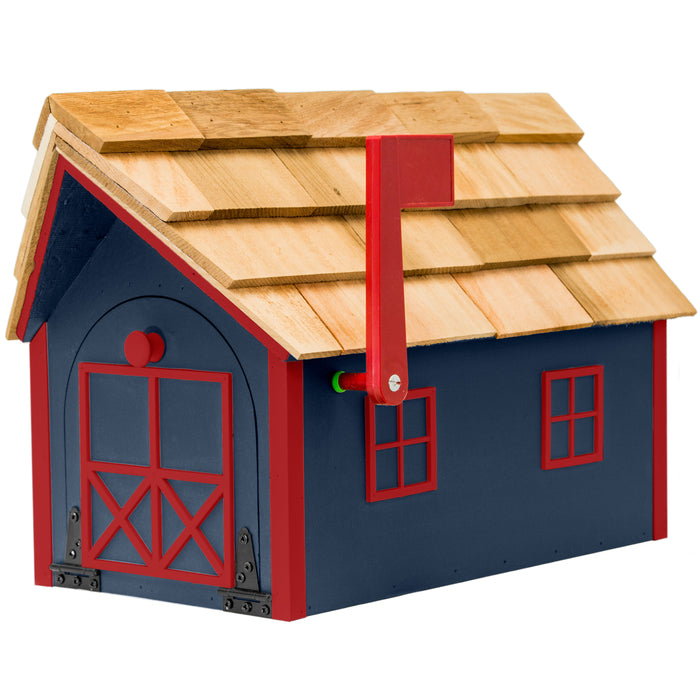 Amish Custom Painted Mailbox with Cedar Shingle Roof