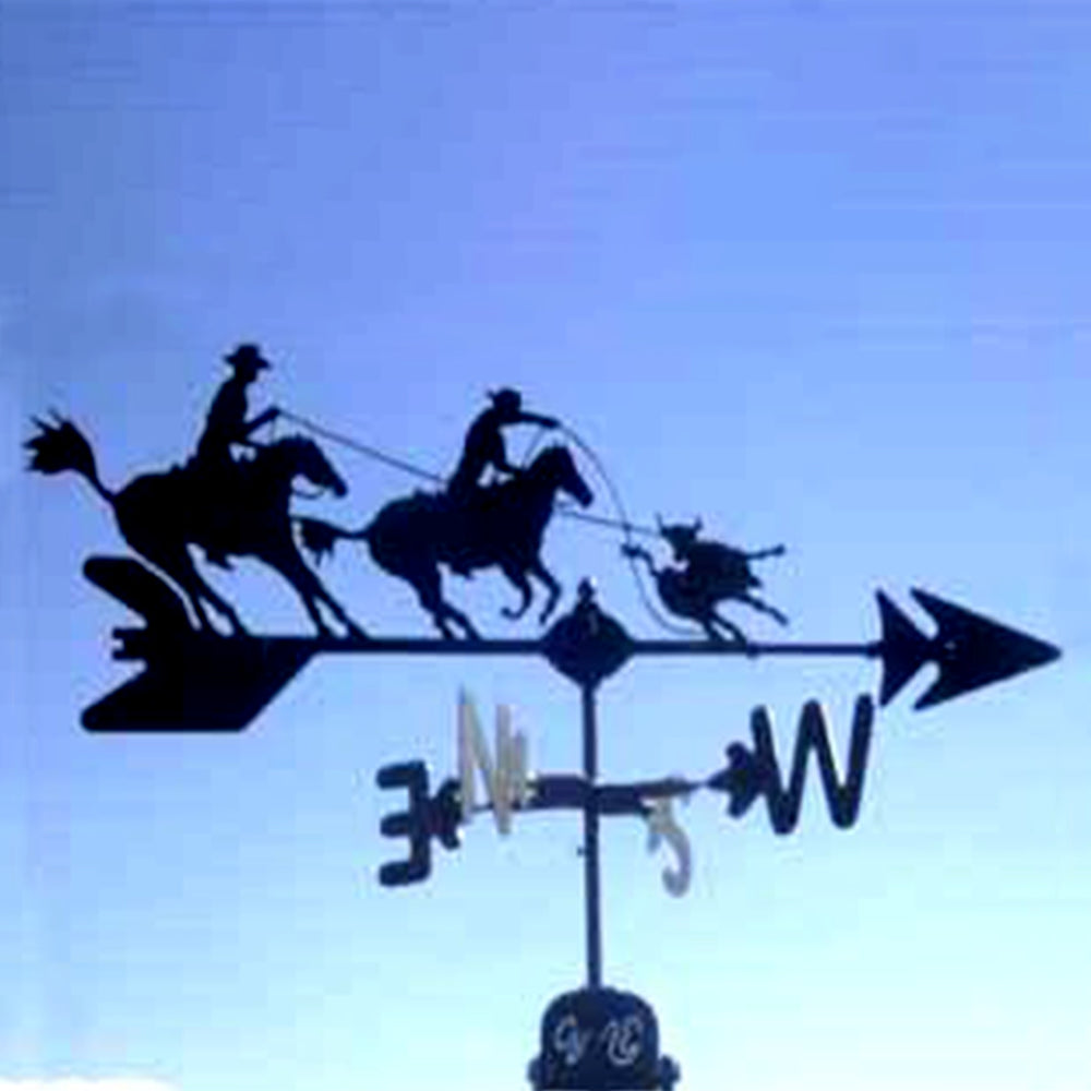 Team Ropers Silhouette Steel Weathervane