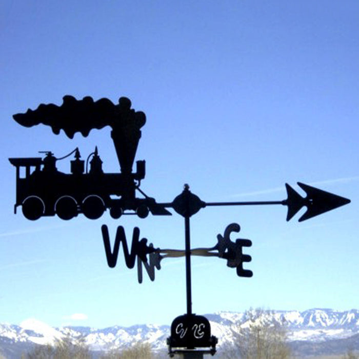 Train Silhouette Steel Weathervane