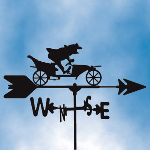 Frog Driving Car Silhouette Steel Weathervane