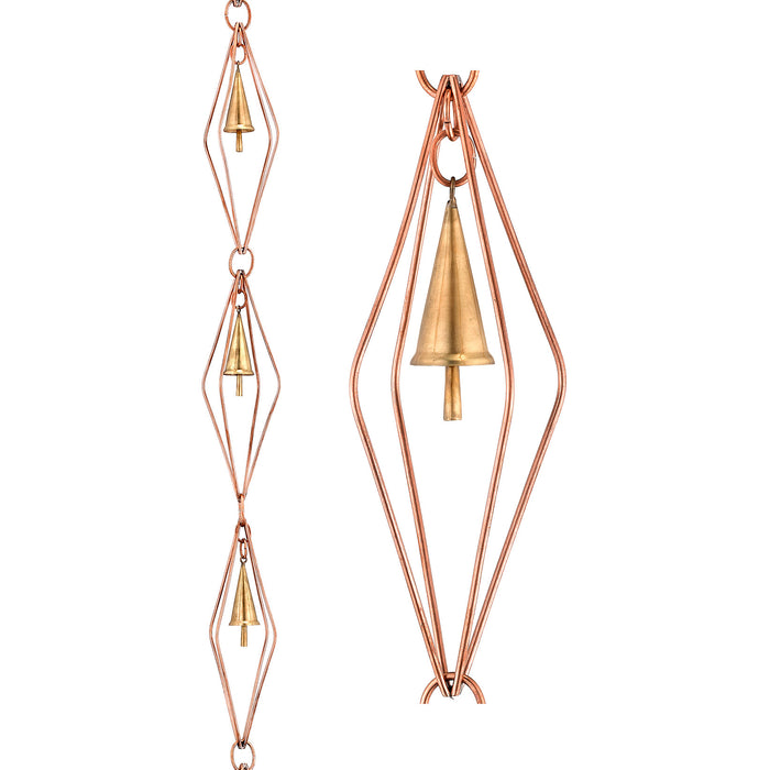 Diamond Pure Copper 8.5 Foot Rain Chain with Bells