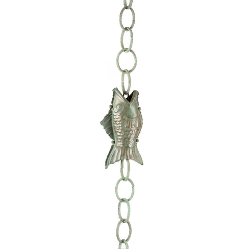 Fish Pure Blue Verde Copper 8.5 Foot Rain Chain