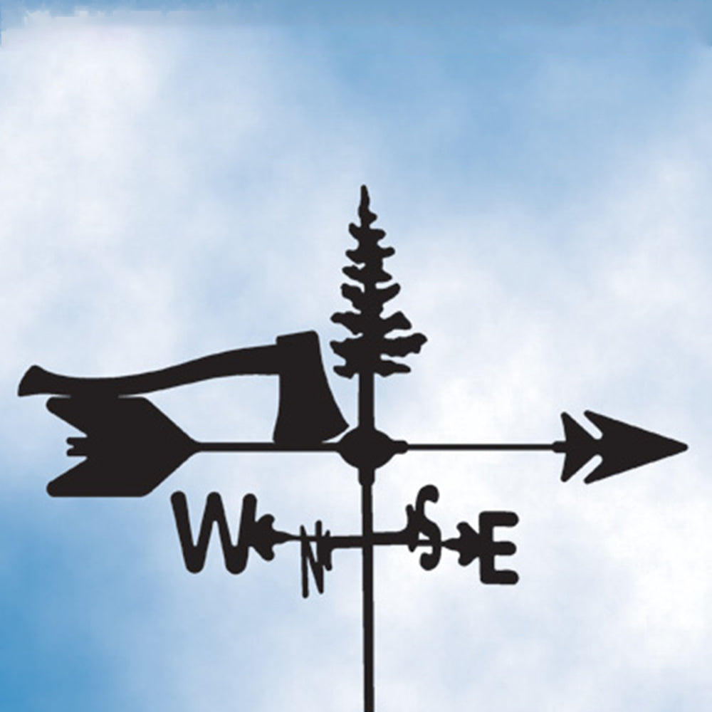 Axe & Tree Silhouette Steel Weathervane
